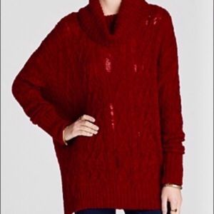 Free People cable knit distress oversized sweater